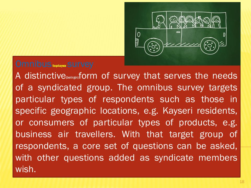 Omnibus (toplayıcı) survey A distinctive (belirgin) form of survey that serves the needs of a syndicated group.