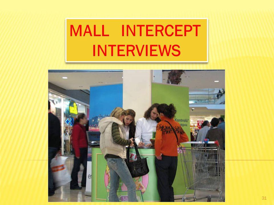 MALL INTERCEPT INTERVIEWS MALL INTERCEPT INTERVIEWS 31