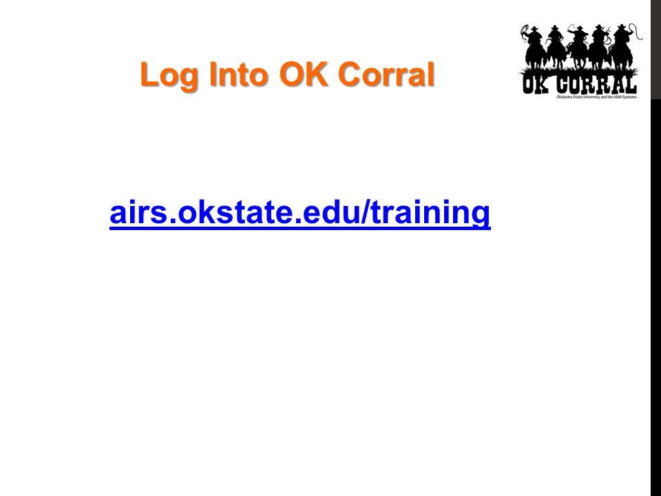 Log Into OK Corral airs.okstate.edu/training