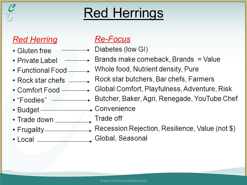 Red Herrings Red Herring Gluten free Private Label Functional Food Rock star chefs Comfort Food Foodies Budget Trade down Frugality Local Re-Focus Diabetes (low GI) Brands make comeback, Brands = Value Whole food, Nutrient density, Pure Rock star butchers, Bar chefs, Farmers Global Comfort, Playfulness, Adventure, Risk Butcher, Baker, Agri, Renegade, YouTube Chef Convenience Trade off Recession Rejection, Resilience, Value (not $) Global, Seasonal