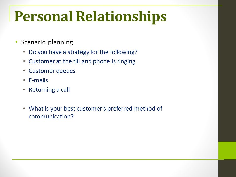 Personal Relationships Scenario planning Do you have a strategy for the following? Customer at the till and phone is ringing Customer queues E-mails R