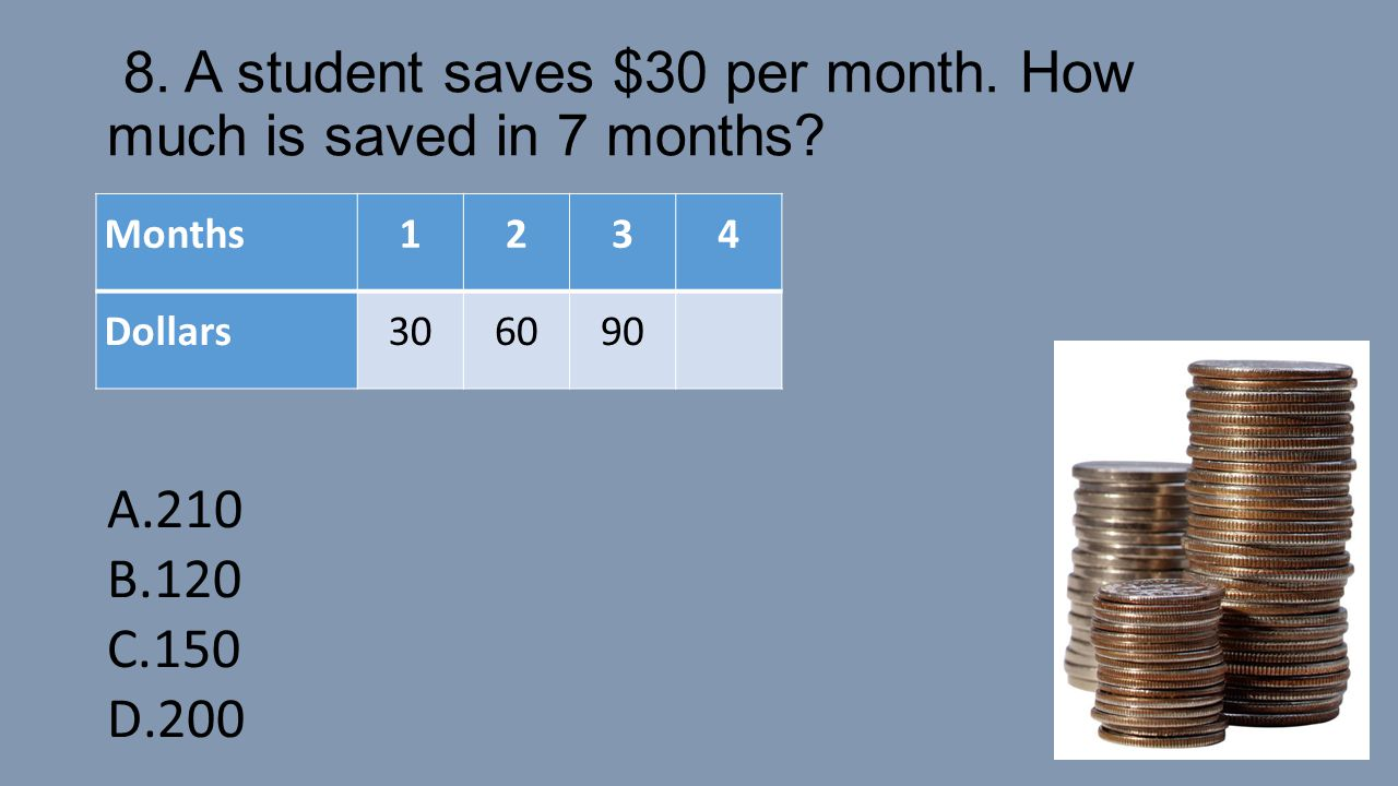 8. A student saves $30 per month. How much is saved in 7 months? Months1234 Dollars306090 A.210 B.120 C.150 D.200A.