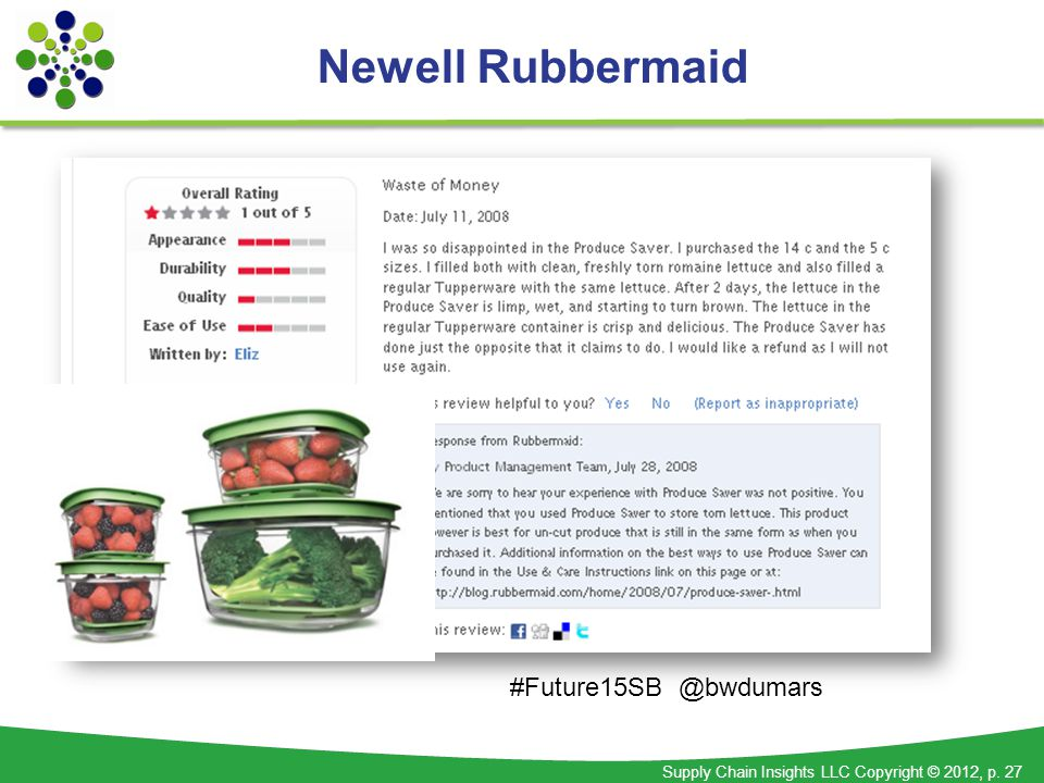 Supply Chain Insights LLC Copyright © 2012, p. 27 Newell Rubbermaid #Future15SB @bwdumars