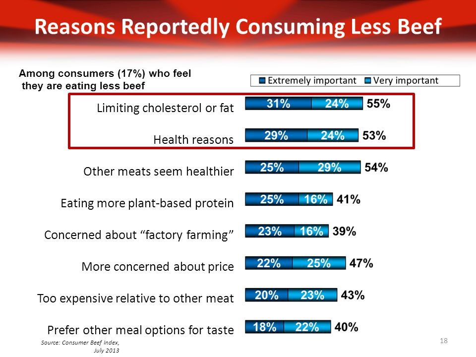 Reasons Reportedly Consuming Less Beef Limiting cholesterol or fat Health reasons Other meats seem healthier Eating more plant-based protein Concerned about factory farming More concerned about price Too expensive relative to other meat Prefer other meal options for taste Among consumers (17%) who feel they are eating less beef Source: Consumer Beef Index, July 2013 18