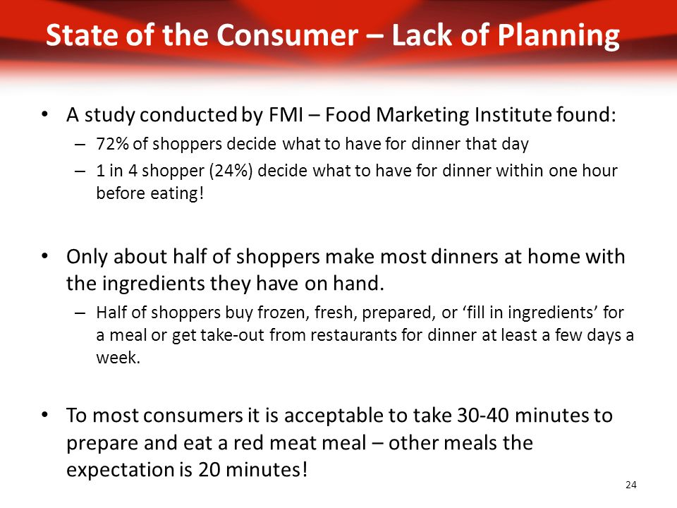 A study conducted by FMI – Food Marketing Institute found: – 72% of shoppers decide what to have for dinner that day – 1 in 4 shopper (24%) decide what to have for dinner within one hour before eating.