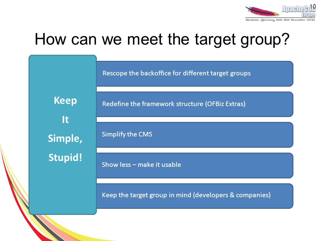 How can we meet the target group? Rescope the backoffice for different target groups Redefine the framework structure (OFBiz Extras) Simplify the CMS