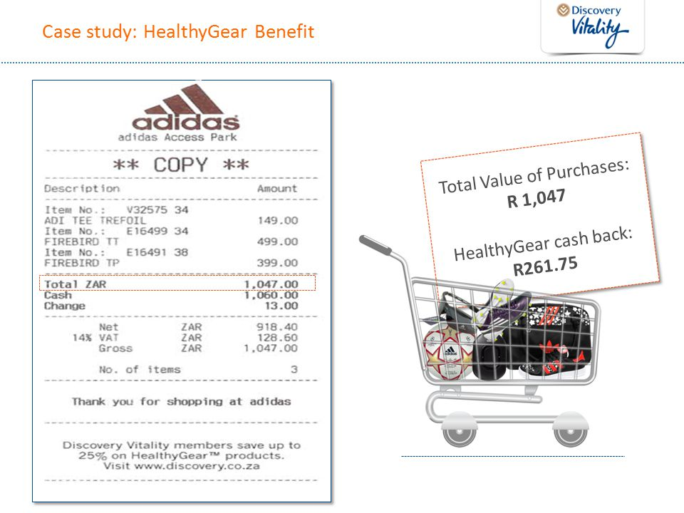 Case study: HealthyGear Benefit Total Value of Purchases: R 1,047 HealthyGear cash back: R261.75