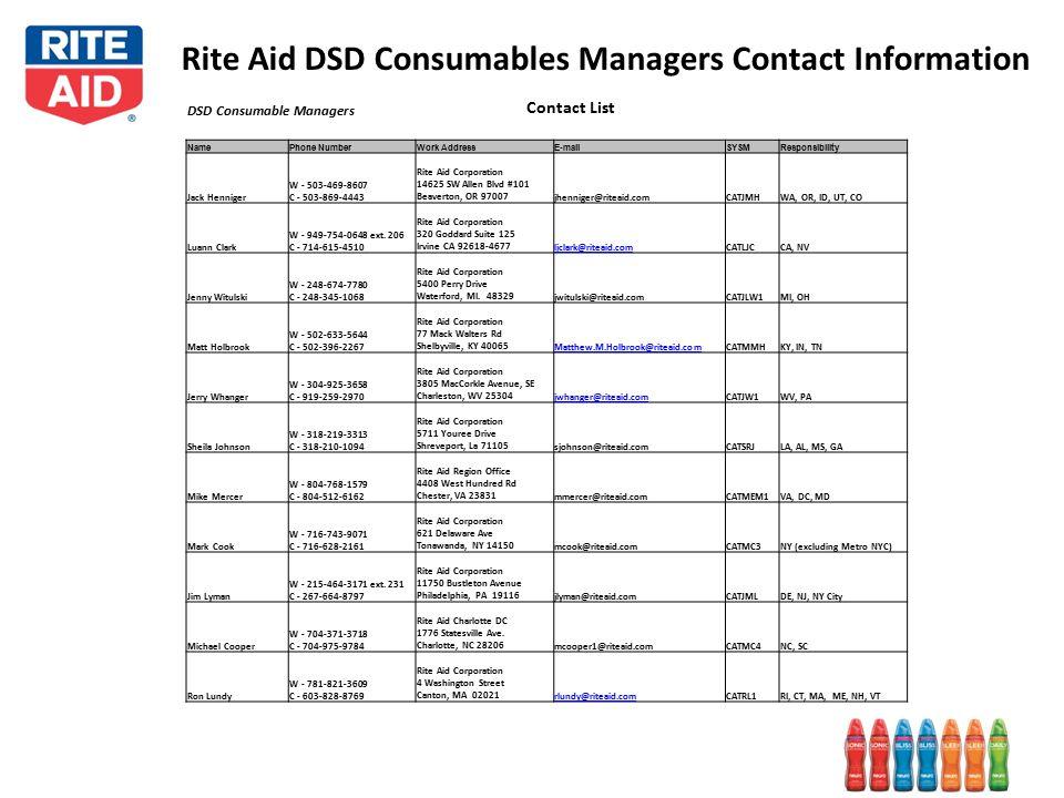 Rite Aid DSD Consumables Managers Contact Information DSD Consumable Managers Contact List NamePhone NumberWork AddressE-mailSYSMResponsibility Jack Henniger W - 503-469-8607 C - 503-869-4443 Rite Aid Corporation 14625 SW Allen Blvd #101 Beaverton, OR 97007jhenniger@riteaid.comCATJMHWA, OR, ID, UT, CO Luann Clark W - 949-754-0648 ext.