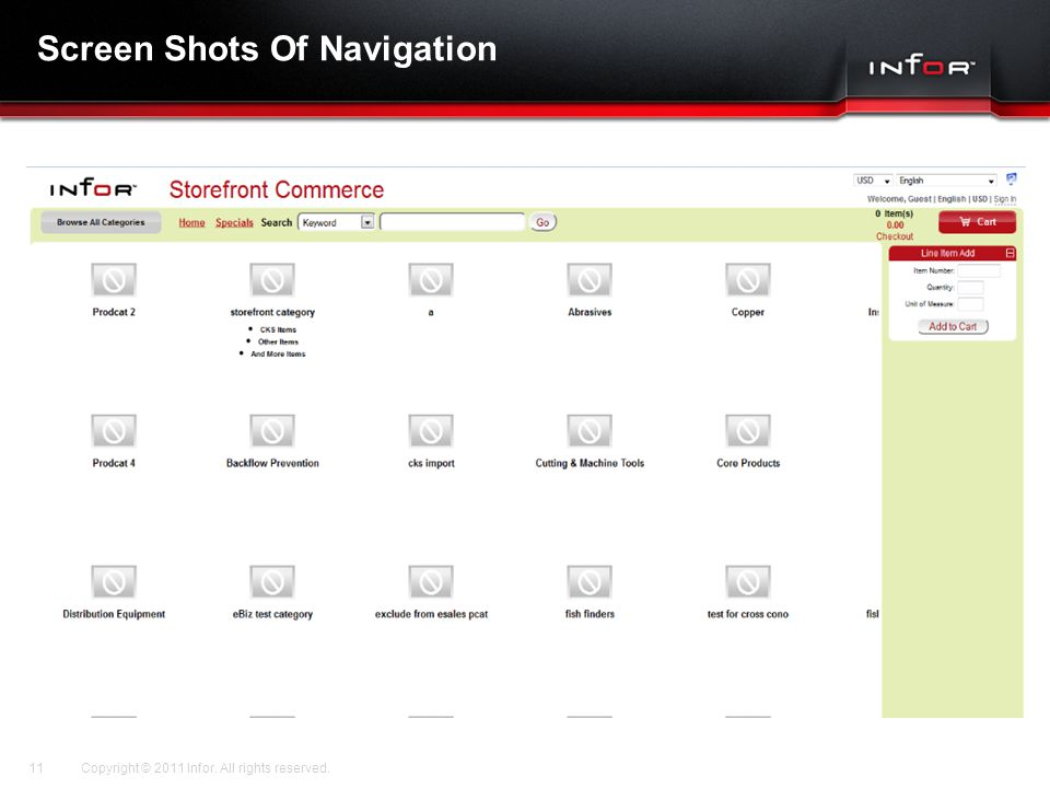 Template V.17, July 29, 2011 Screen Shots Of Navigation Copyright © 2011 Infor. All rights reserved.11