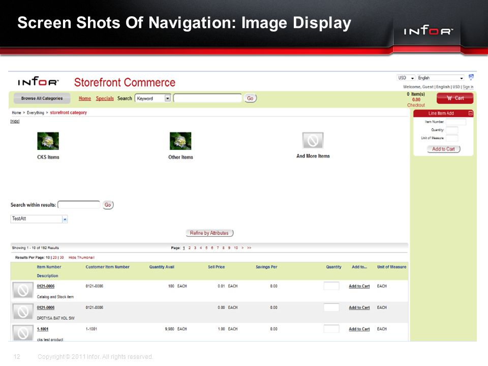 Template V.17, July 29, 2011 Screen Shots Of Navigation: Image Display Copyright © 2011 Infor. All rights reserved.12