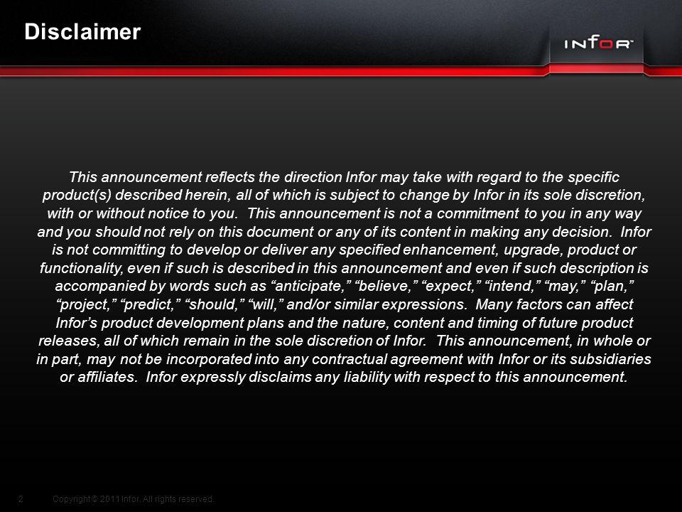 Template V.17, July 29, 2011 TDCI Channel Sales Integration Copyright © 2011 Infor.