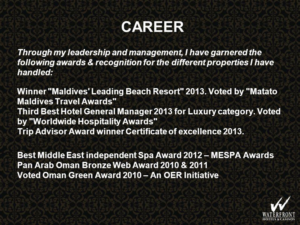 CAREER Winner Maldives Leading Beach Resort 2013.