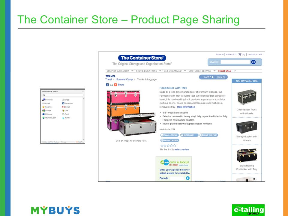 The Container Store – Product Page Sharing
