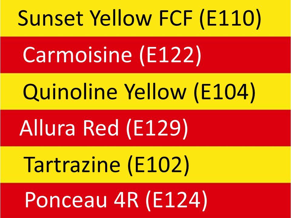 Sunset Yellow FCF (E110) Carmoisine (E122) Quinoline Yellow (E104) Allura Red (E129) Tartrazine (E102) Ponceau 4R (E124)