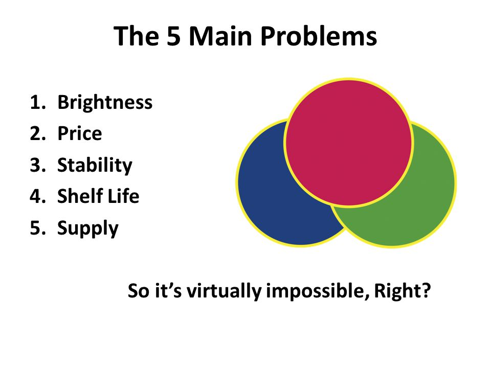 The 5 Main Problems 1.Brightness 2.Price 3.Stability 4.Shelf Life 5.Supply So it's virtually impossible, Right