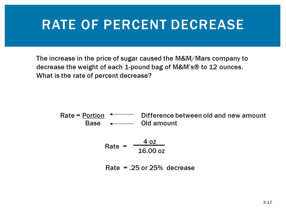 RATE OF PERCENT DECREASE 3-17 Rate = Portion Base Rate =.25 or 25% decrease The increase in the price of sugar caused the M&M/Mars company to decrease