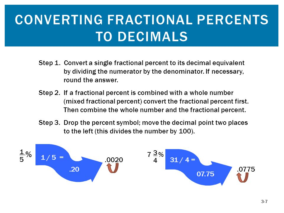 CONVERTING FRACTIONAL PERCENTS TO DECIMALS 3-7.0775 Step 1. Convert a single fractional percent to its decimal equivalent by dividing the numerator by