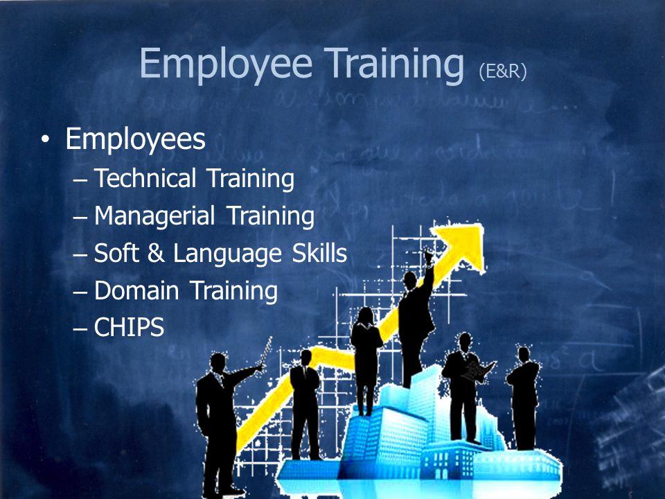 Employee Training (E&R) Employees – Technical Training – Managerial Training – Soft & Language Skills – Domain Training – CHIPS
