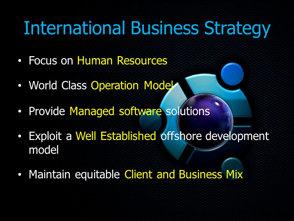 International Business Strategy Focus on Human Resources World Class Operation Model Provide Managed software solutions Exploit a Well Established offshore development model Maintain equitable Client and Business Mix