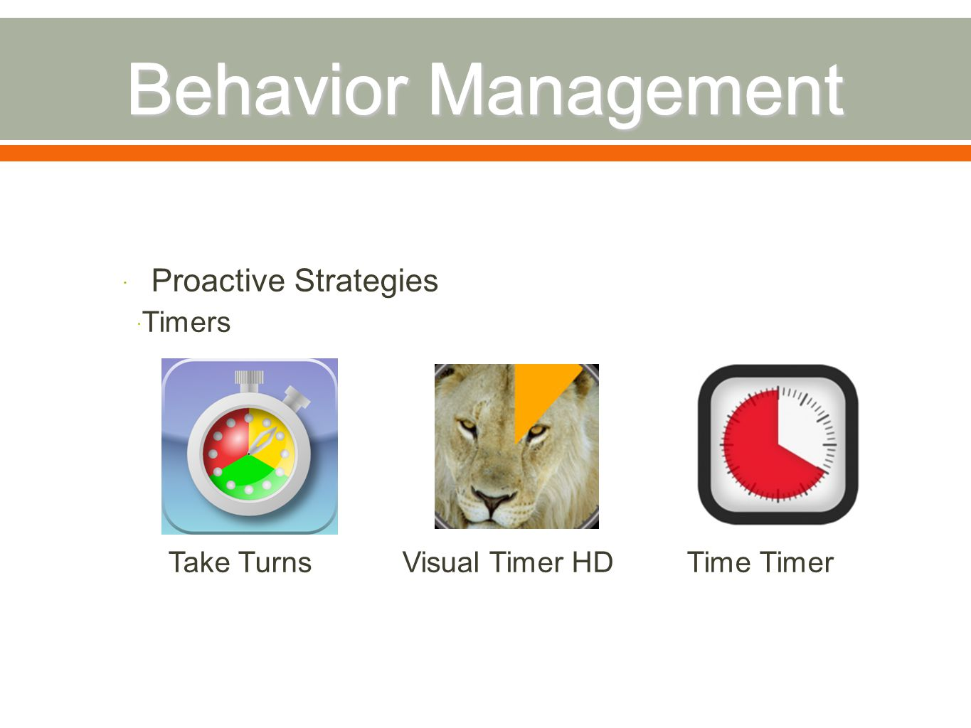  Proactive Strategies  Timers Take Turns Visual Timer HD Time Timer
