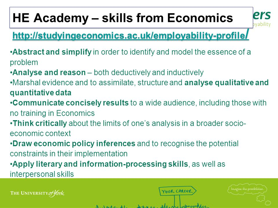 HE Academy – skills from Economics http://studyingeconomics.ac.uk/employability-profile / http://studyingeconomics.ac.uk/employability-profile / HE Academy – skills from Economics http://studyingeconomics.ac.uk/employability-profile / http://studyingeconomics.ac.uk/employability-profile / Abstract and simplify in order to identify and model the essence of a problem Analyse and reason – both deductively and inductively Marshal evidence and to assimilate, structure and analyse qualitative and quantitative data Communicate concisely results to a wide audience, including those with no training in Economics Think critically about the limits of one's analysis in a broader socio- economic context Draw economic policy inferences and to recognise the potential constraints in their implementation Apply literary and information-processing skills, as well as interpersonal skills