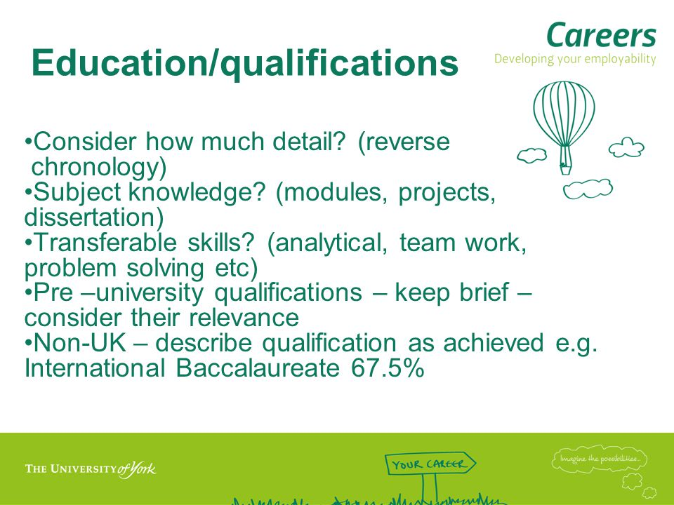 Education/qualifications Consider how much detail.