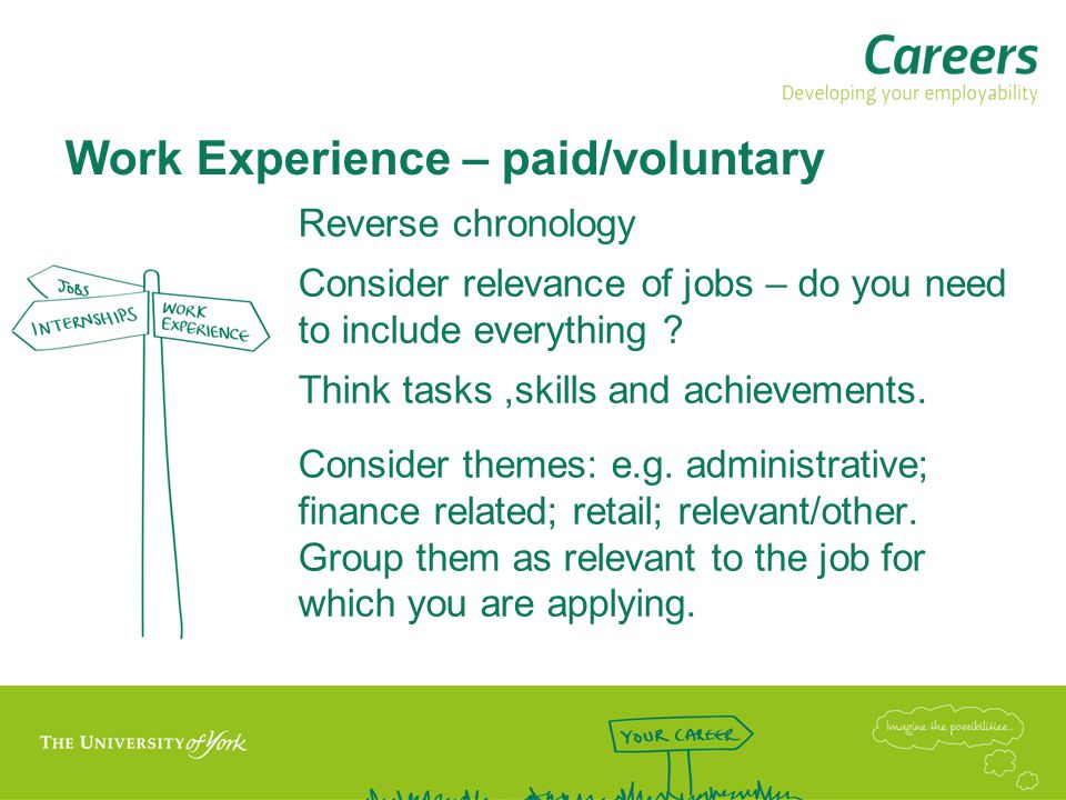 Work Experience – paid/voluntary Reverse chronology Consider relevance of jobs – do you need to include everything .