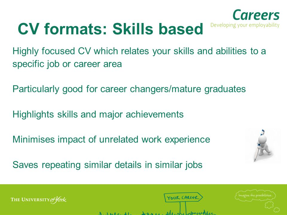 CV formats: Skills based Highly focused CV which relates your skills and abilities to a specific job or career area Particularly good for career changers/mature graduates Highlights skills and major achievements Minimises impact of unrelated work experience Saves repeating similar details in similar jobs