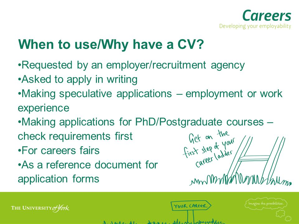 When to use/Why have a CV.