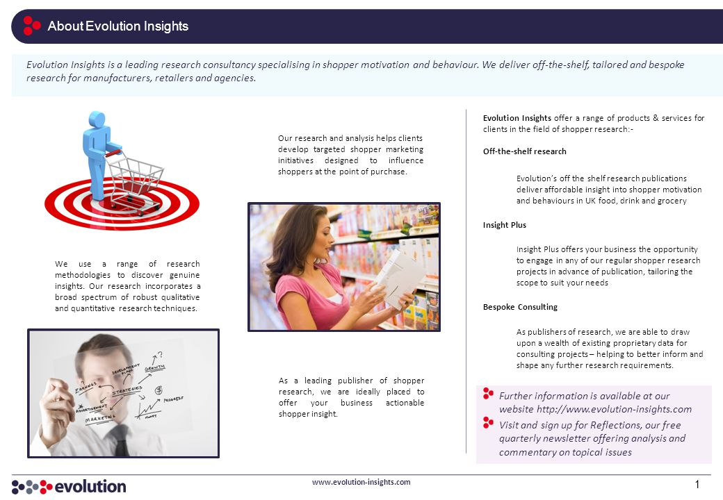 Evolution Insights offer a range of products & services for clients in the field of shopper research:- Off-the-shelf research Evolution's off the shel