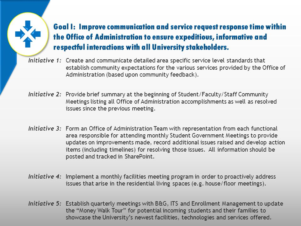 Initiative 1:Create and communicate detailed area specific service level standards that establish community expectations for the various services provided by the Office of Administration (based upon community feedback).