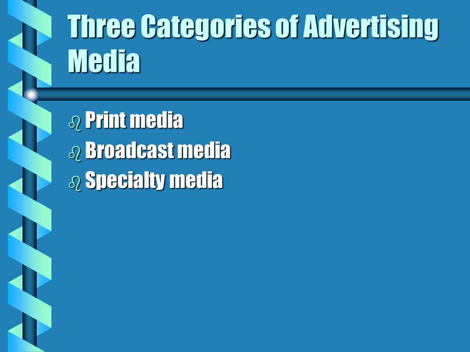 Three Categories of Advertising Media b Print media b Broadcast media b Specialty media