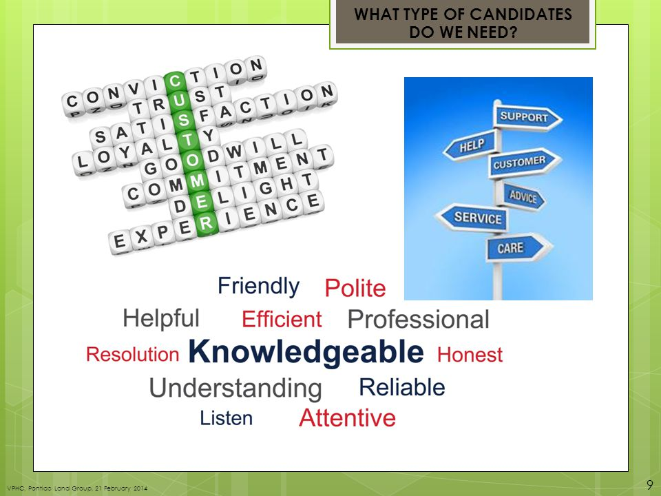 WHAT TYPE OF CANDIDATES DO WE NEED? VPHC, Pontiac Land Group, 21 February 2014 9