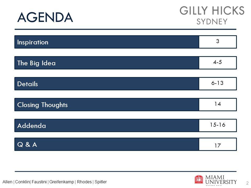 2 Allen | Conklin| Faustini | Greifenkamp | Rhodes | Spitler AGENDA Inspiration The Big Idea Closing Thoughts Details Addenda Q & A 3 4-5 6-13 14 15-16 17