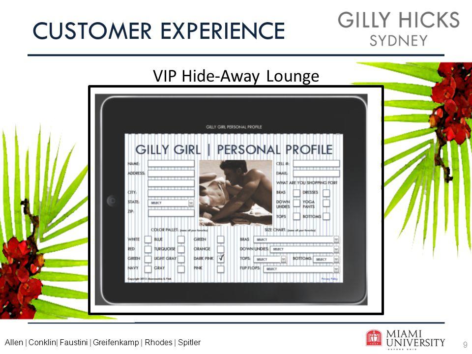 9 Allen | Conklin| Faustini | Greifenkamp | Rhodes | Spitler CUSTOMER EXPERIENCE VIP Hide-Away Lounge