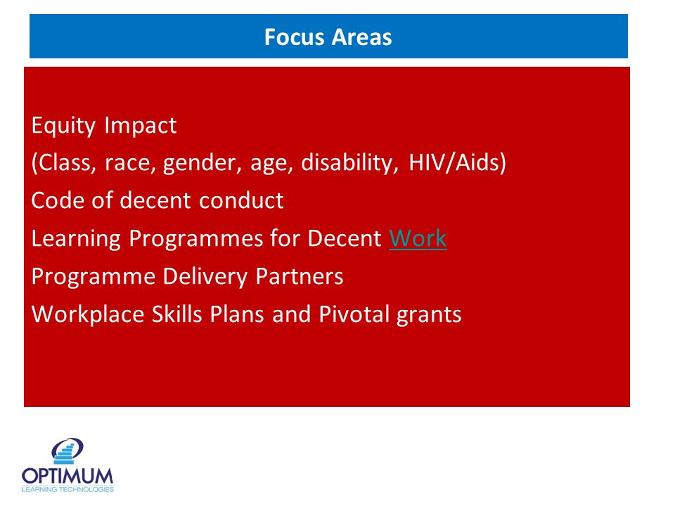 Focus Areas Equity Impact (Class, race, gender, age, disability, HIV/Aids) Code of decent conduct Learning Programmes for Decent WorkWork Programme Delivery Partners Workplace Skills Plans and Pivotal grants
