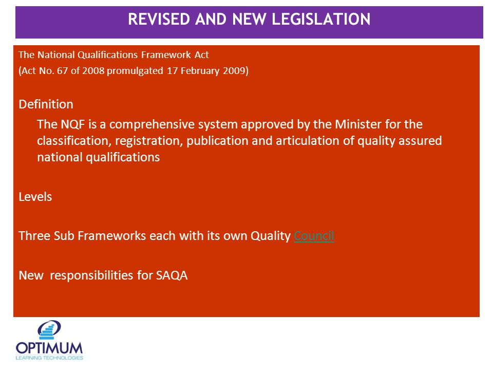 REVISED AND NEW LEGISLATION The National Qualifications Framework Act (Act No.