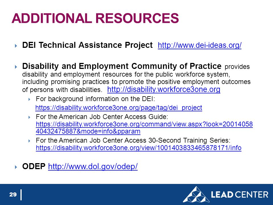 ADDITIONAL RESOURCES  DEI Technical Assistance Project http://www.dei-ideas.org/ http://www.dei-ideas.org/  Disability and Employment Community of Practice provides disability and employment resources for the public workforce system, including promising practices to promote the positive employment outcomes of persons with disabilities.