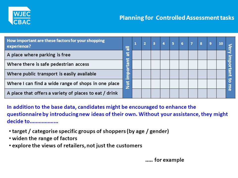 Planning for Controlled Assessment tasks How important are these factors for your shopping experience.