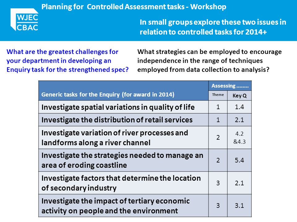 Planning for Controlled Assessment tasks - Workshop Generic tasks for the Enquiry (for award in 2014) Assessing........