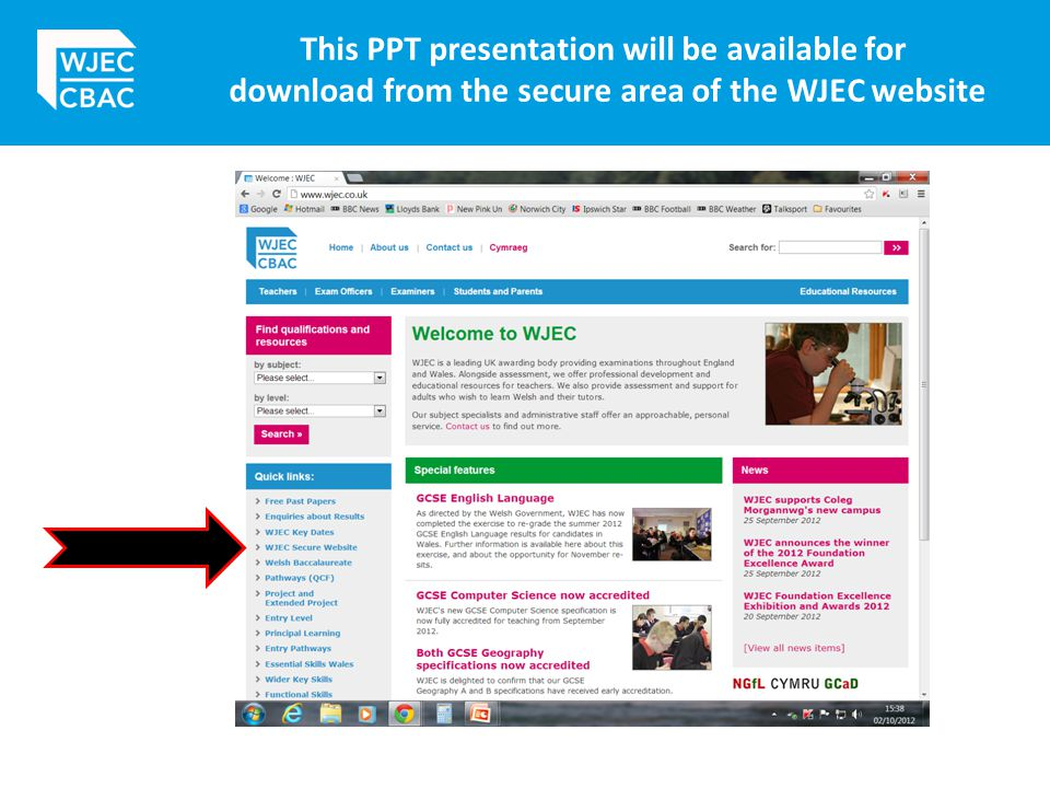 This PPT presentation will be available for download from the secure area of the WJEC website