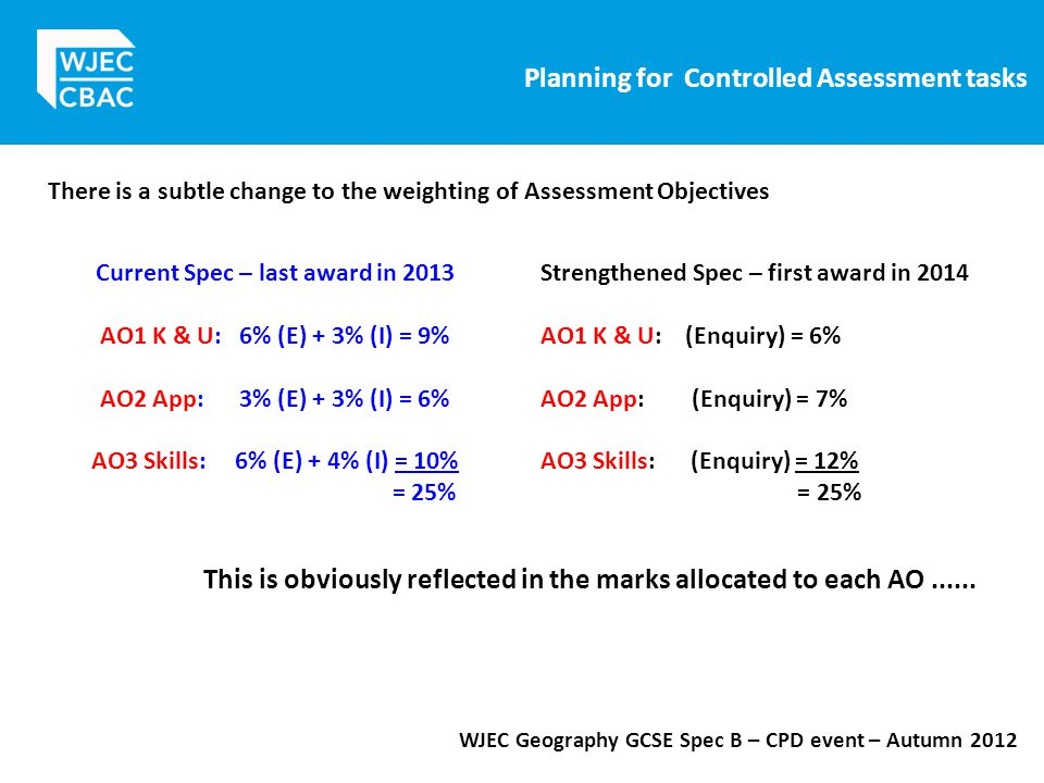 Planning for Controlled Assessment tasks WJEC Geography GCSE Spec B – CPD event – Autumn 2012 There is a subtle change to the weighting of Assessment Objectives Current Spec – last award in 2013 AO1 K & U: 6% (E) + 3% (I) = 9% AO2 App: 3% (E) + 3% (I) = 6% AO3 Skills: 6% (E) + 4% (I) = 10% = 25% Strengthened Spec – first award in 2014 AO1 K & U: (Enquiry) = 6% AO2 App: (Enquiry) = 7% AO3 Skills: (Enquiry) = 12% = 25% This is obviously reflected in the marks allocated to each AO......