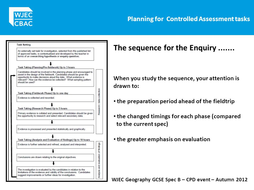 Planning for Controlled Assessment tasks WJEC Geography GCSE Spec B – CPD event – Autumn 2012 When you study the sequence, your attention is drawn to: the preparation period ahead of the fieldtrip the changed timings for each phase (compared to the current spec) the greater emphasis on evaluation The sequence for the Enquiry.......