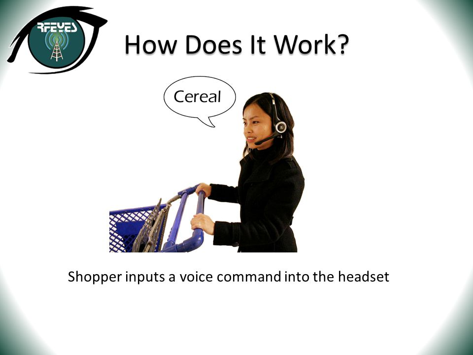 Shopper inputs a voice command into the headset How Does It Work?