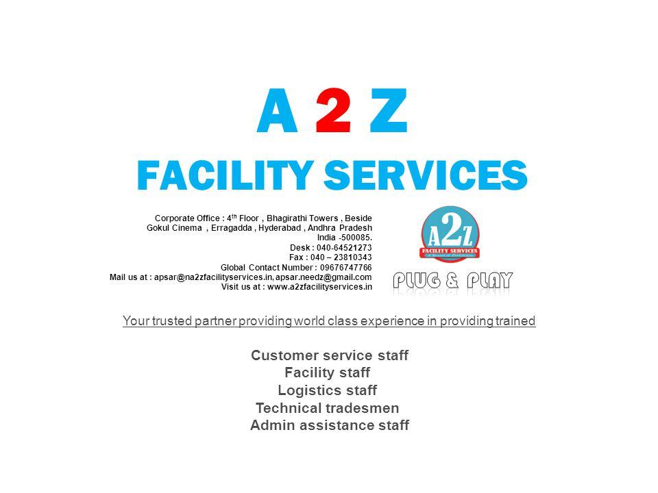 A 2 Z FACILITY SERVICES Corporate Office : 4 th Floor, Bhagirathi Towers, Beside Gokul Cinema, Erragadda, Hyderabad, Andhra Pradesh India -500085. Des