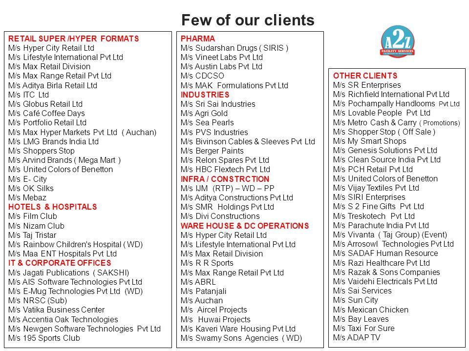 Few of our clients RETAIL SUPER /HYPER FORMATS M/s Hyper City Retail Ltd M/s Lifestyle International Pvt Ltd M/s Max Retail Division M/s Max Range Ret