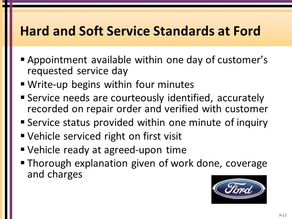 Hard and Soft Service Standards at Ford  Appointment available within one day of customer's requested service day  Write-up begins within four minut