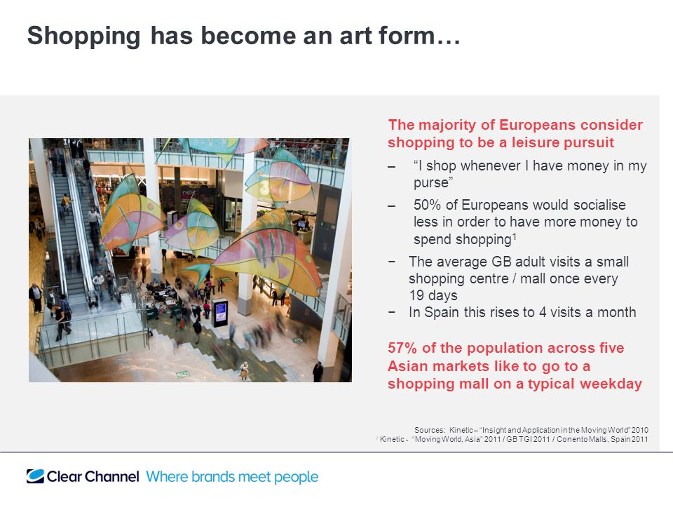 The majority of Europeans consider shopping to be a leisure pursuit – I shop whenever I have money in my purse –50% of Europeans would socialise less in order to have more money to spend shopping 1 −The average GB adult visits a small shopping centre / mall once every 19 days −In Spain this rises to 4 visits a month 57% of the population across five Asian markets like to go to a shopping mall on a typical weekday Shopping has become an art form… Sources: Kinetic – Insight and Application in the Moving World 2010 / Kinetic - Moving World, Asia 2011 / GB TGI 2011 / Conento Malls, Spain 2011