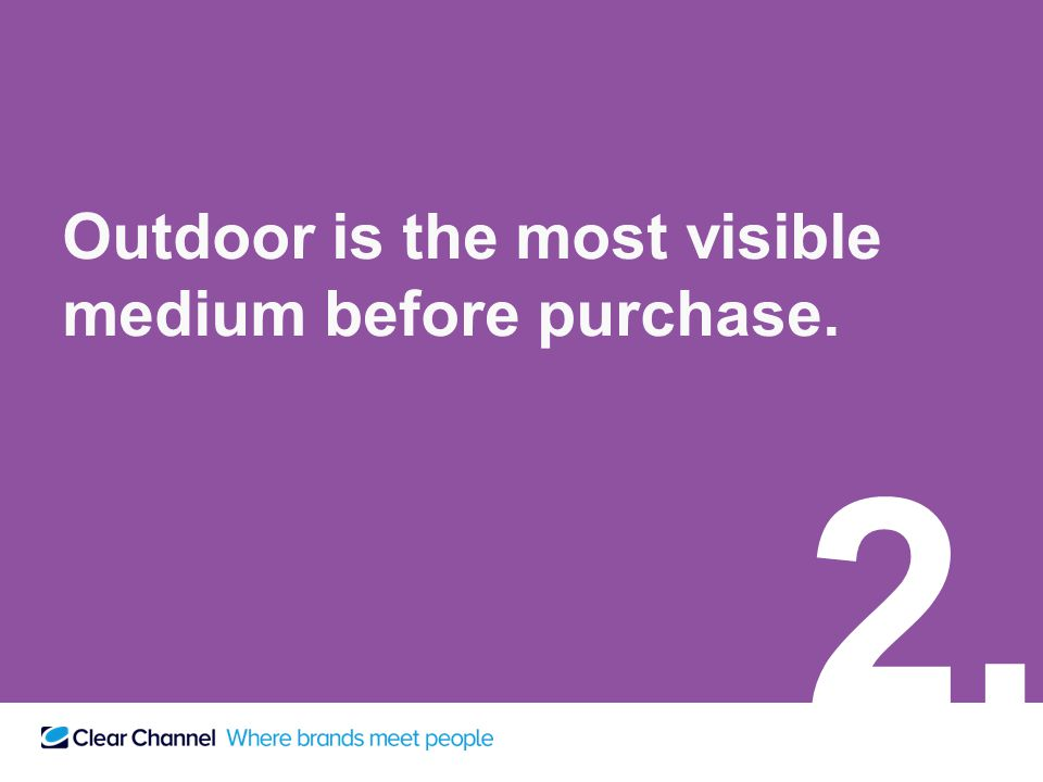 Outdoor is the most visible medium before purchase. 2.