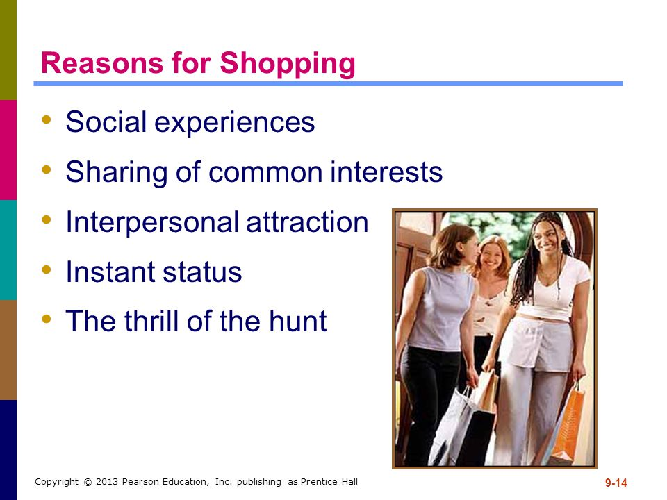 9-14 Copyright © 2013 Pearson Education, Inc. publishing as Prentice Hall Reasons for Shopping Social experiences Sharing of common interests Interper